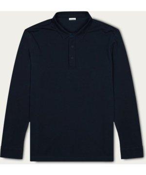 Dark Navy Matteo Long Sleeve Polo Shirt