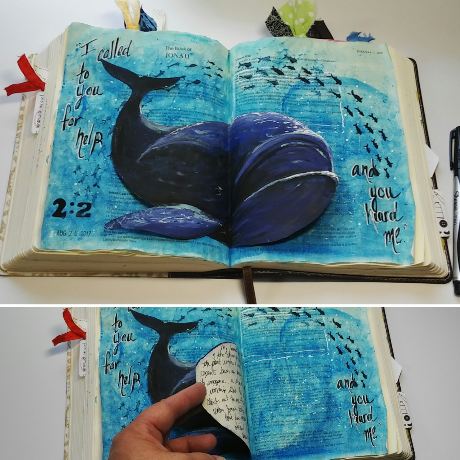 Bible Journaling whale tip-in