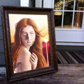 Photographing art on my deck.