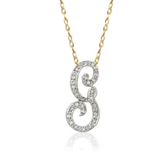 Gold & Diamond initial in 14K Gold - Tessories
