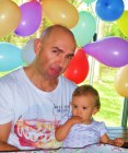 Daddy Dan and little Maddie ... don't you love the balloons