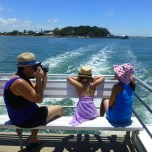 Maria (L) with Violet (M) and Alice (R) enjoy the scenery as the ferry takes us to Choochiemudleo Island