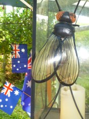 This fly was given to Geoff by a friend who admired it in her house! It sits on a candle lantern in our garden eating area. It is rather LARGE!