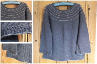2017 - Charcoal top down yoke sweater - made up as I went along. The yarn was another charity shop purchase bought when I first came back to knitting and had limited access to yarn. This had been partly knitted and had no ball band so was pulled back, washed and rewound. I wear this a lot.