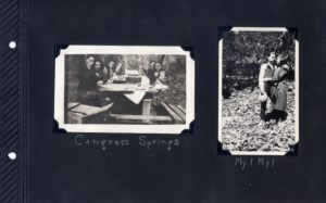 Photo album page, two photos of friends on a picnic at Congress Springs in Saratoga, California.