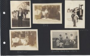 The Family in the early years. Uncle Pete (Cletus Burns); Great Grandpa (George Daniel Ludwig); James Bayard Ludwig, looks like after they've arrived in California; Walter in front of what I think is the house in Hughson; and the family in South Dakota in 1909. That is, I think, Great Grandma (Floy Hogg) in the back on the left, the three children could be Grandma (Marjorie), Aunt Irene, and James Bayard, but they don't look familiar. The other two girls in the back are unknown.