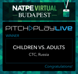 Pitch & Play LIVE WINNER ANNOUNCED:  TITLE: Children vs Adults COMPANY: Art Pictures Distribution  PRODUCER: Diana Yurinova, Executive Vice President
