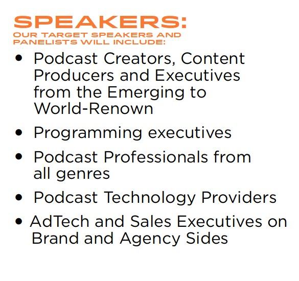 2021 ContentCast  AAGENDA/TOPICS*  *Subject to change  12:00PM, ET  Opening Remarks Welcome  JP Bommel, President & CEO, NATPE  12:05PM, ET  Opening Keynote Interview – State of the IP Union: How Hollywood is Finding Its Voice(s)  Journalist Andrew Wallenstein of Variety will interview leading podcast executive, Scott Greenstein of SiriusXM, and renown video executive, Ben Silverman, of Propagate Content on how — and why — their respective areas are intersecting today – with an appearance by talent who is beloved across platforms, Brian Baumgartner (The Office and The Office Deep Dive podcast).  Moderator: Andrew Wallenstein, Chief Media Analyst & President, Variety Intelligence Platform Ben Silverman, Propagate Content, Chairman & CEO Brian Baumgartner, Actor/Host, The Office Deep Dive Podcast Scott Greenstein, President & CCO, SiriusXM  12:25PM, ET  A Brief Overview On the State of Podcast Listening: Today's Share of Ear  Tom Webster, SVP Strategy & Marketing, Edison Research  12:30PM, ET  Expanding Audiences with Podcasting: From Farm Team to A-Listers  1. Podcasting is Ready for its Close-Up – Audible shares how podcasting has exceeded impression expectations in the US and Internationally and is having its TV Close Up Moment  Moderator: Nick Quah, Proprietor, HotPod Rachel Ghiazza, EVP, Head of US Content, Audible  2. Screen to Pod/Pod to Screen – How Companies Leverage Each Screen to Build Awareness and Audience Engagement  Moderator: Peter White, Television Editor, Deadline Steve Raizes, SVP Podcasts, ViacomCBS Jason Hoch, President, Podcasts, Imperative Entertainment Nando Vila, Head of Podcasts, Exile Content Studio  1:00PM, ET  Closing the Knowledge Gap: 20-Minute Practicums on the Tactical  1. Building a 360 Audience – A Case Study of how Rooster Teeth and The Roost Podcast Network went from podcasting-to-YouTube-to-TV and back again.  AJ Feliciano, Head of the Roost Podcast Network  2. Navigating The Realities of Migrating IP – Agents, Attorneys, Talent a