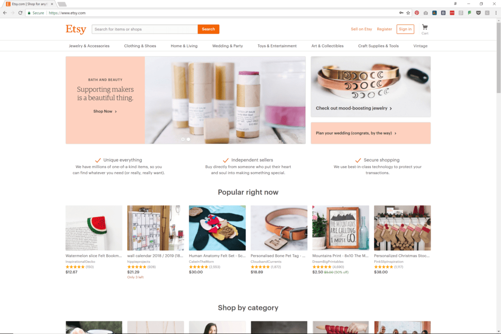 Etsy Home Page - Desktop