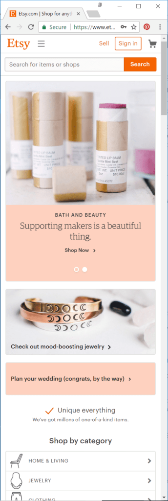 Etsy Home Page - Mobile