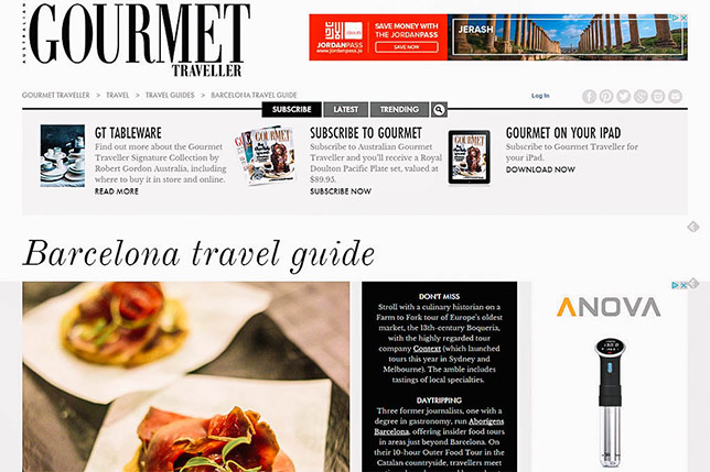 Aborígens featured on Barcelona travel guide by Gourmet Traveller from Australia