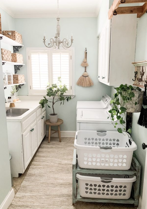 Laundry Room Organization With Old Time Pottery