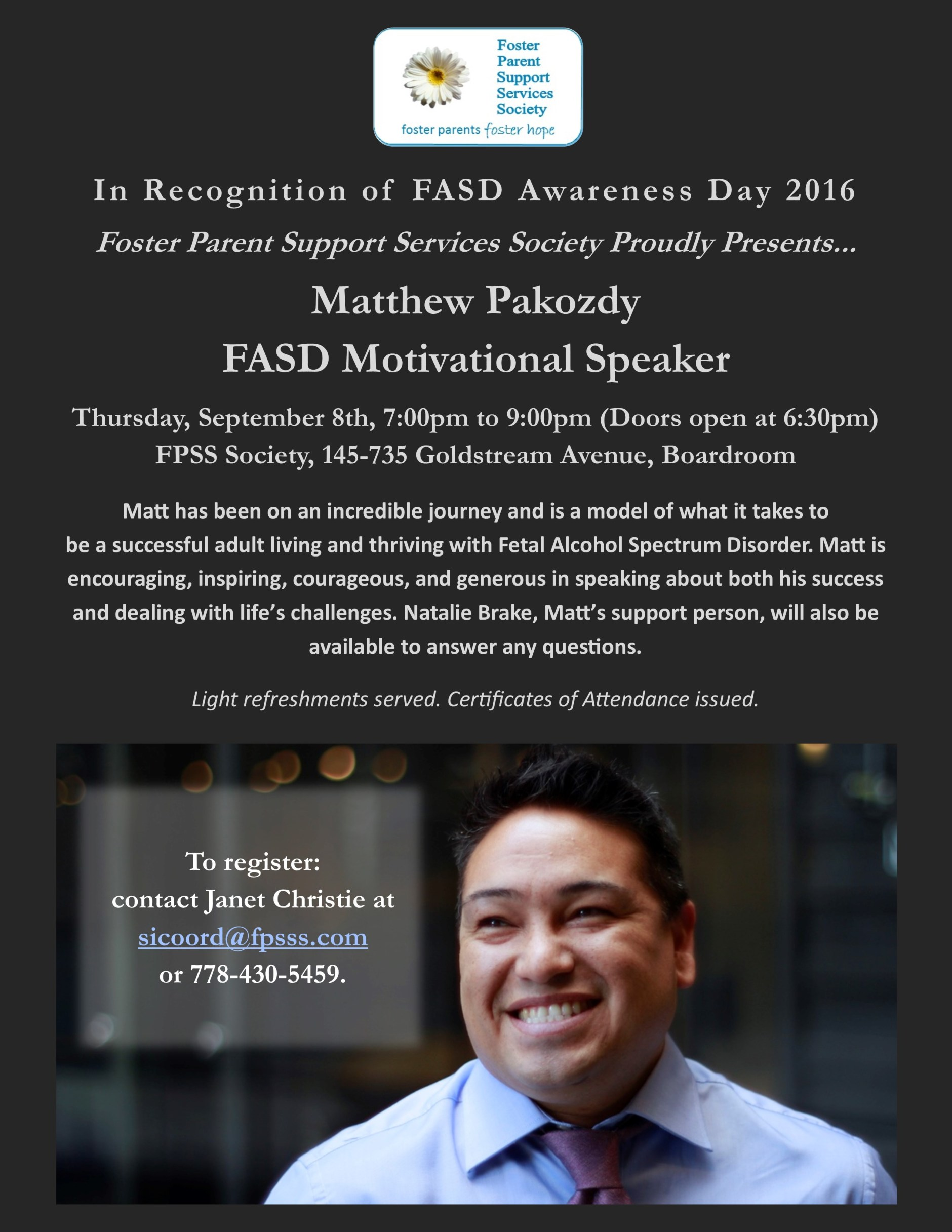 Matthrew Pakozdy FASD Motivational Speaker Poster