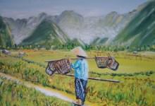 Départ aux champs au soleil levant ( Laos )