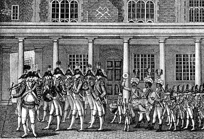 Engelsk militærmusikkorps fra omkr. 1750. Læg mærke til serpentblæseren - datidens tuba. Bagerste musiker spiller på en 'ranket' - på tysk 'Wurstfagot' (pølsefagot).