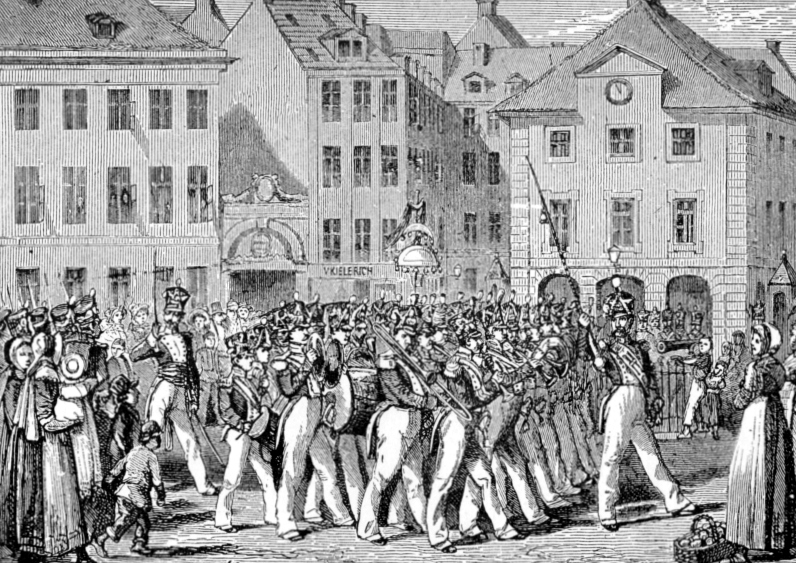 Vagtparade ved Københavns Hovedvagt på Kgs. Nytorv ca. 1820 (samtidigt træsnit).