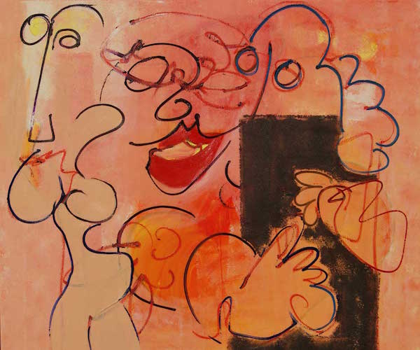 Schilderij, Jeetje me creetje, olieverf, linnen, Robert Pennekamp, 2005, model, modellen, lippenstift, bloot, naakt, robert, pennekamp, roze, creme