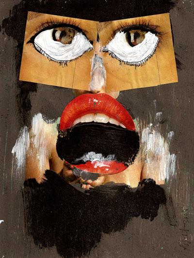 collage, glitter, glamour, catwalks, gezicht, vrouw, sticker, streetart, tand, hand, bek, robert, pennekamp, mond, lippenstift, oog,