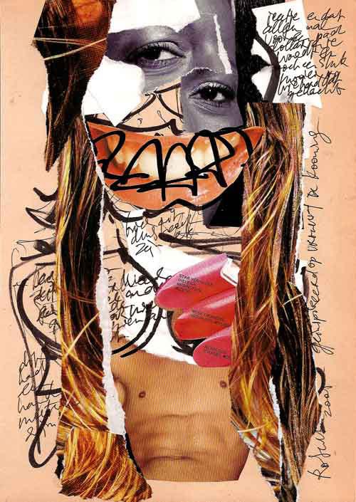 Collage, nr 1, glitter, glamour, catwalks, Robert Pennekamp, A4 formaat, 20 * 30 cm, 2005, Gemengde technieken, papier, babe, model, tekst, lippestift, oog