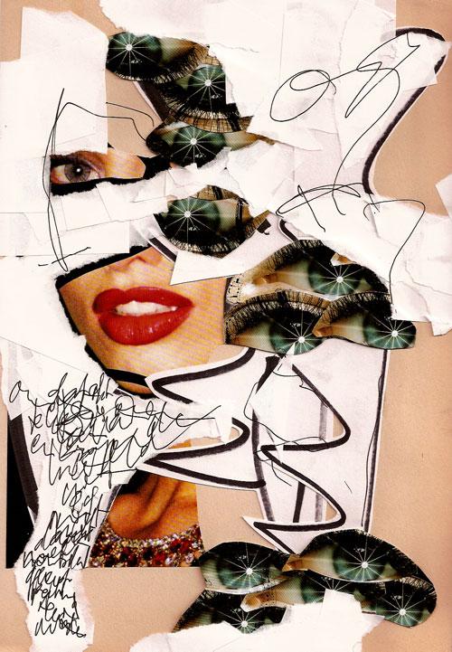 collage, 4, glitter, glamour, catwalks, Robert Pennekamp, A4 formaat, 2005, babe, model, tekst, lippestift, oog, ogen