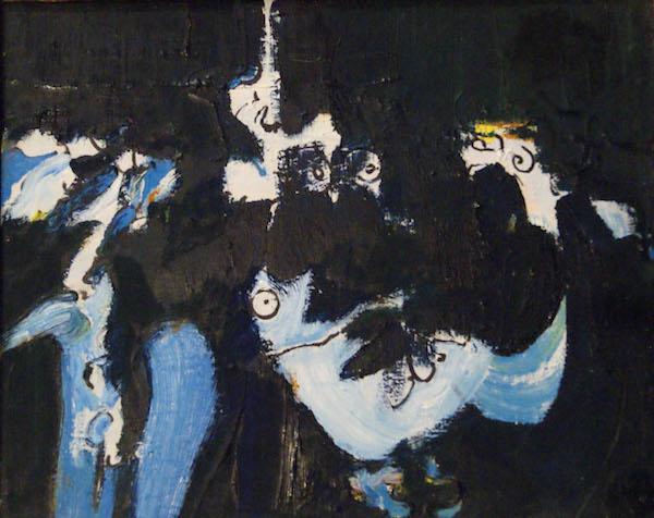 lekker lui, olieverf, canvas, schilderij, blauw, man, mannetje, abstract, strip, cartoon, figuur, robert, pennekamp, donkerblauw, oog, in de gaten houden