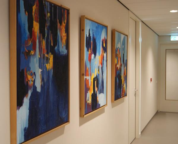 schilderij expressief, schilderij, schilderijen, robert, pennekamp, abstract, expressief, 2015, kantoor, muur, wachtkamer, gang, entree, representatief