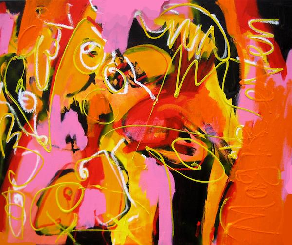 geel, wit , wild, expressief, tekst, Mag ik even, fluoriderend, roze, oranje, , Robert, Pennekamp, Robert Pennekamp, olieverf, linnen, painting, oil, schilderij, 676, gemengde technieken