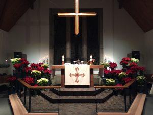 The altar with poinsettias