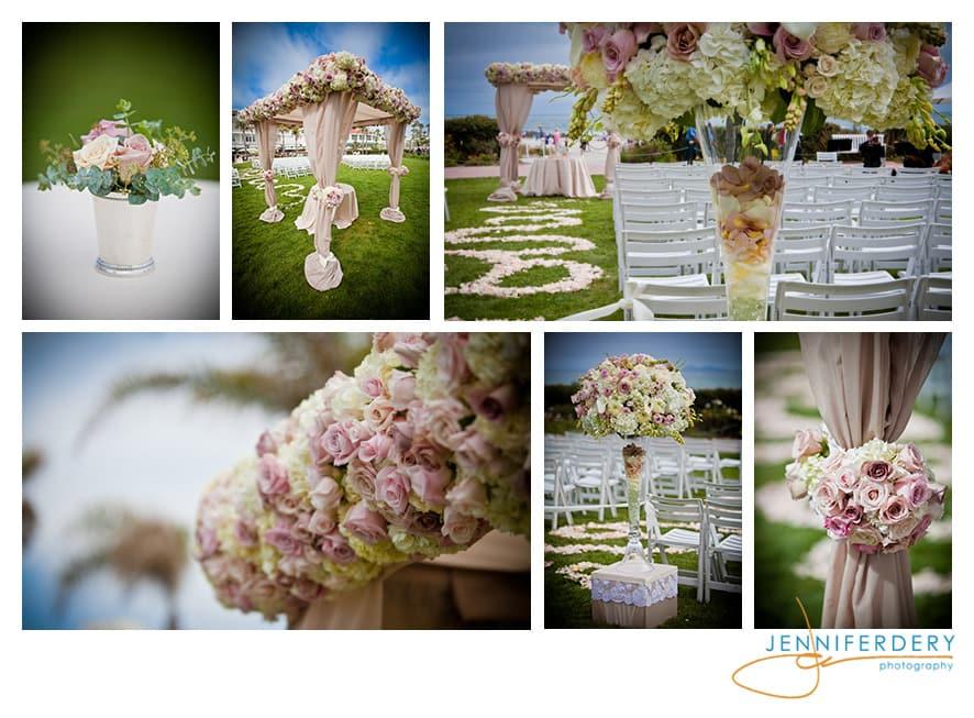 blush and champagne hotel Del wedding decor photos