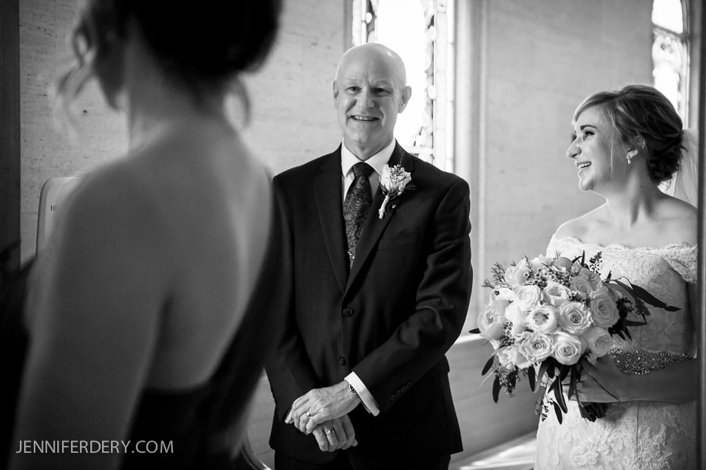 photo of bride with her dad minutes before the wedding ceremony