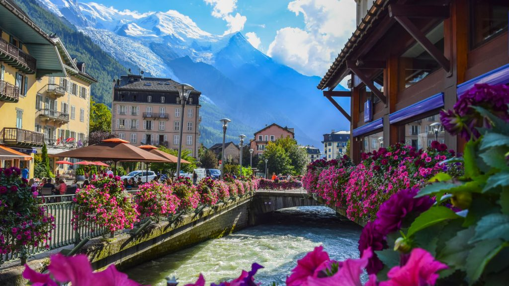 A Mont Blanc view from Chamonix town centre