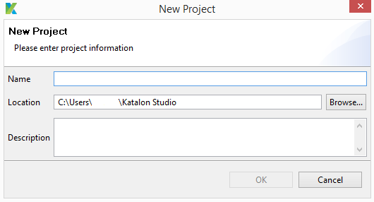 new project Katalon multiple browser testing