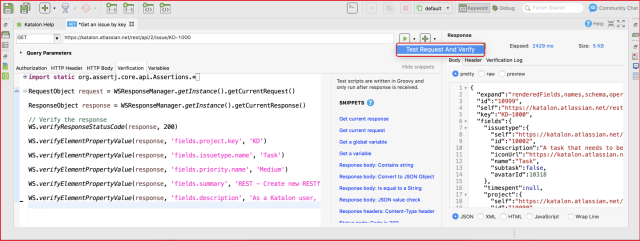 restful web services - Verification API Testing Katalon Studio