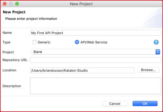 restful web services - create a new project using Katalon Studio