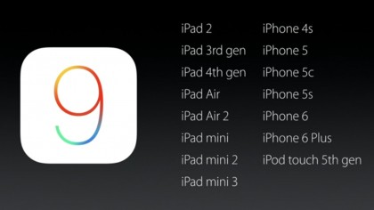 iOS 9 is compatible with all iOS 8 devices
