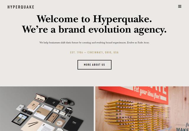 Screenshot of a clean website: Hyperquake