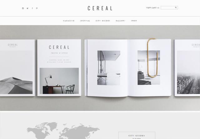 Screenshot of a clean website: Cereal