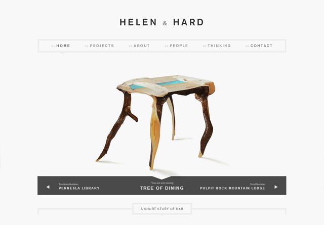 Screenshot of a clean website: Helen & Hard