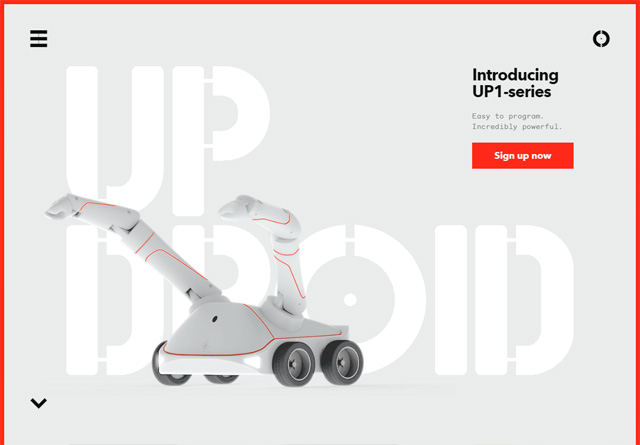 Screenshot of a clean website: UpDroid