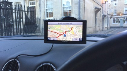 Garmin nuvi 68LM on car windscreen