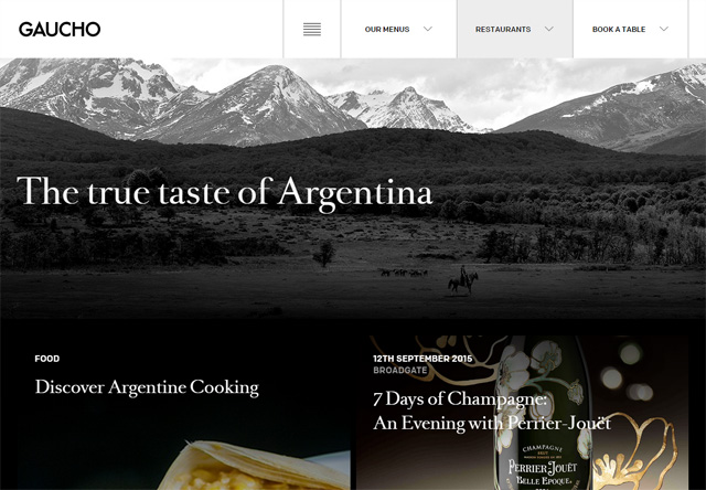 Image of a restaurant website: Gaucho