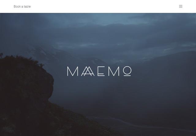 Image of a restaurant website: Maaemo Restaurant
