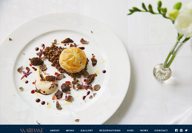 Image of a restaurant website: Marianne Restaurant