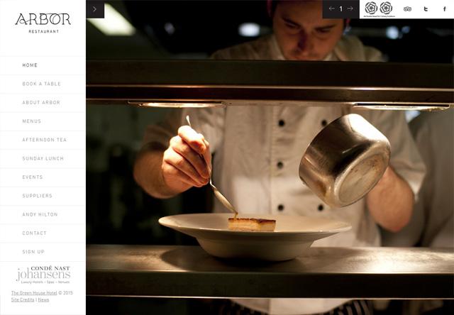 Image of a restaurant website: Arbor Restaurant