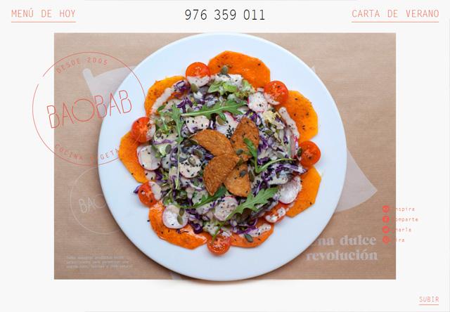 Image of a restaurant website: Baobab