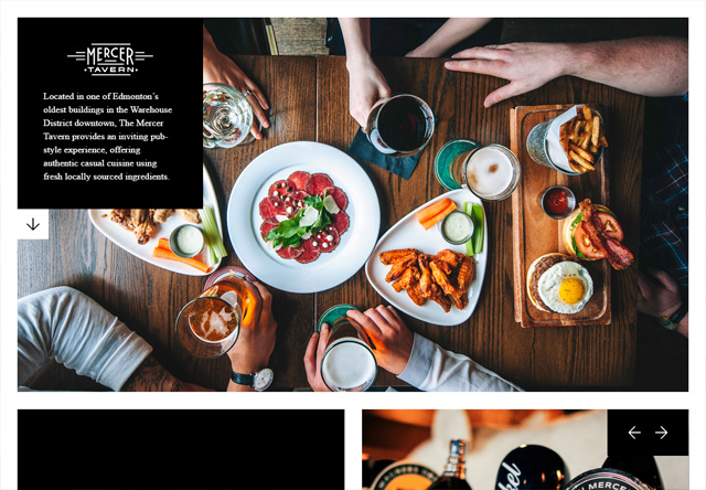 Image of a restaurant website: Mercer Tavern