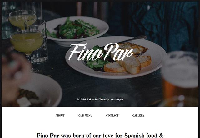 Image of a restaurant website: Fino Par