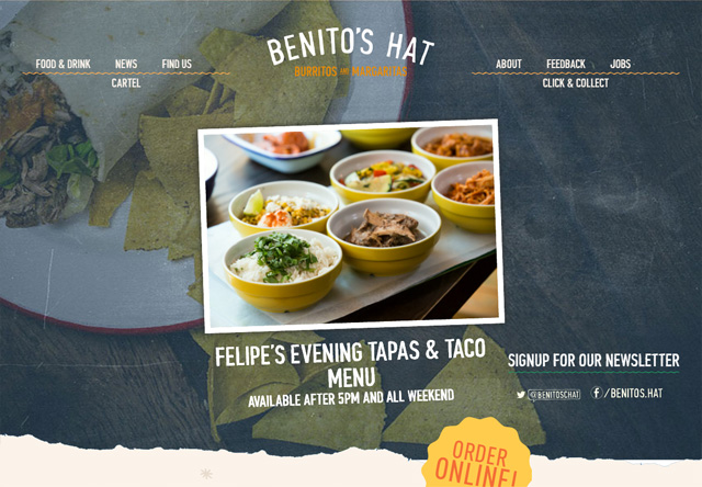 Image of a restaurant website: Benito's Hat