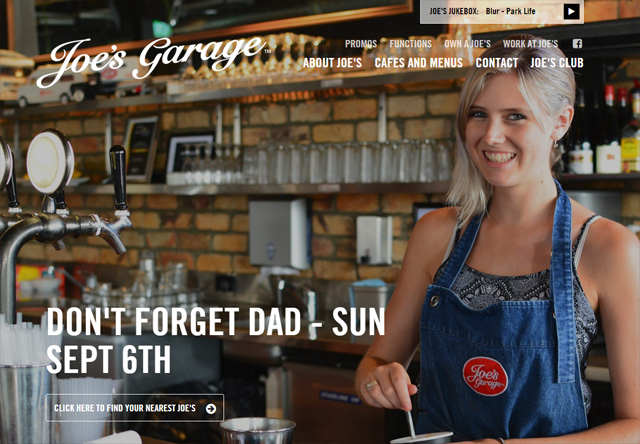 Image of a restaurant website: Joe's Garage