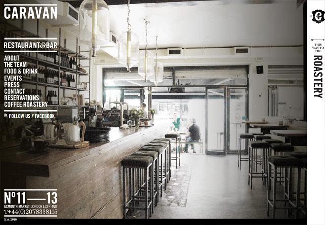 Image of a restaurant website: CARAVAN